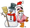 Cartoon Nose Character With a Snowman clipart