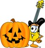 Cartoon Guitar Character at Halloween clipart