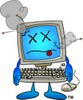 Dead or Sick Computer Cartoon Character clipart