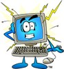 Computer Cartoon Character Experiencing a Power Surge clipart