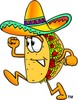 Cartoon Taco Character Running clipart