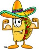 Cartoon Taco Character Flexing His Muscles clipart