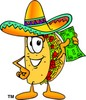 Cartoon Taco Character Holding Money clipart
