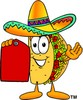 Cartoon Taco Character Holding a Price Tag clipart