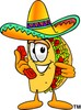 Cartoon Taco Character Holding Telephone clipart