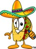 Cartoon Taco Character Holding a Magnifying Glass clipart