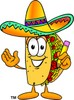 Cartoon Taco Character Holding a Pencil clipart