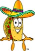 Cartoon Taco Character Sitting Down clipart