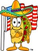 Cartoon Taco Character With American Flag clipart
