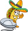 Cartoon Taco Character With Computer Mouse clipart
