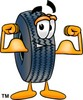 Cartoon Tire Character Flexing His Muscles clipart
