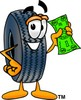 Cartoon Tire Character Holding Money clipart