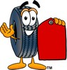 Cartoon Tire Character Holding a Price Tag clipart
