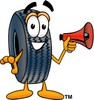 Cartoon Tire Character Holding a Megaphone clipart