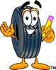 Cartoon Tire Character Holding Pencil clipart
