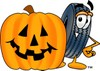 Cartoon Tire Character With a Halloween Pumpkin clipart
