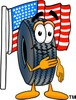 Cartoon Tire Character With American Flag clipart