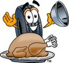 Cartoon Tire Character With Thanksgiving Day Turkey clipart