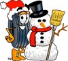 Cartoon Tire Character With a Snowman clipart