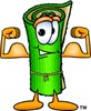 Cartoon Carpet Character Flexing His Muscles clipart