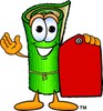 Cartoon Carpet Character Holding a Price Tag clipart