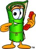 Cartoon Carpet Character Holding a Telephone clipart