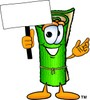 Cartoon Carpet Character Holding a Sign clipart