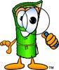 Cartoon Carpet Character Holding a Magnifying Glass clipart