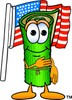 Cartoon Carpet Character Saying Pledge of Allegiance clipart