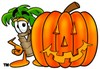 Cartoon Palm Tree With Halloween Jack-o-lantern clipart