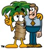 Cartoon Palm Tree Standing Beside a Man clipart