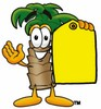 Cartoon Palm Tree Holding a Price Tag clipart
