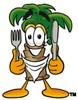 Cartoon Palm Tree Holding a Knife and Fork clipart