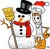 Cartoon Wrench Standing Beside Snowman Wearing a Santa Clause Hat clipart