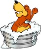 Cartoon Dog Character Taking a Bath clipart