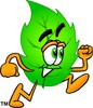 Cartoon Green Leaf Character Running clipart