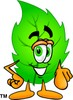 Cartoon Green Leaf Character Pointing clipart