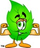Cartoon Green Leaf Character Flexing Muscles clipart