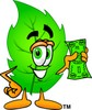Cartoon Green Leaf Character Holding Money clipart