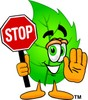 Cartoon Green Leaf Character Holding a Stop Sign clipart