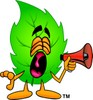 Cartoon Green Leaf Character Holding a Megaphone clipart