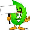 Cartoon Green Leaf Character Holding a Sign clipart