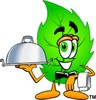 Cartoon Green Leaf Character Serving Food clipart