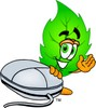 Cartoon Green Leaf Character With a Computer Mouse clipart