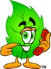 Cartoon Green Leaf Character With Telephone clipart