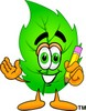 Cartoon Green Leaf Character Holding a Pencil clipart
