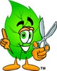 Cartoon Green Leaf Character Holding Scissors clipart