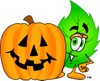 Cartoon Green Leaf Character With Halloween Pumpkin clipart