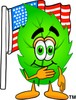 Cartoon Green Leaf Character With American Flag clipart