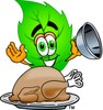 Cartoon Green Leaf Character With Thanksgiving Turkey clipart